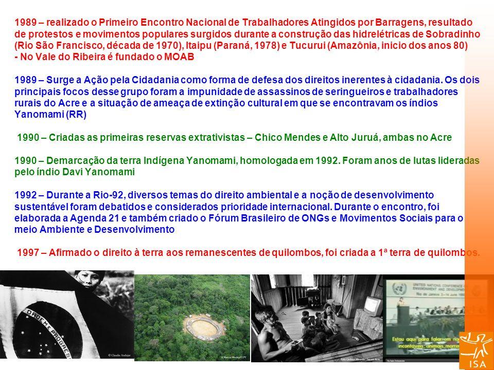 1989 – realizado o Primeiro Encontro Nacional de Trabalhadores Atingidos por Barragens, resultado de protestos e movimentos populares surgidos durante