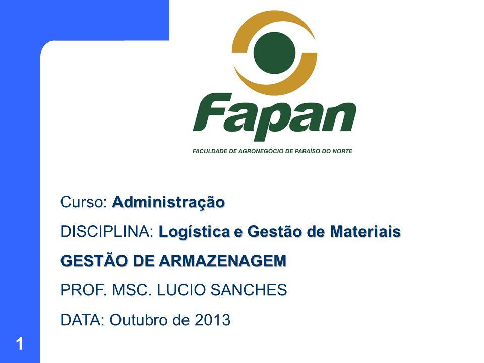 1 Administração Curso: Administração Logística e Gestão de Materiais DISCIPLINA: Logística e Gestão de Materiais GESTÃO DE ARMAZENAGEM PROF. MSC. LUCI