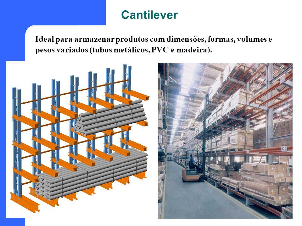 19 Cantilever Ideal para armazenar produtos com dimensões, formas, volumes e pesos variados (tubos metálicos, PVC e madeira).