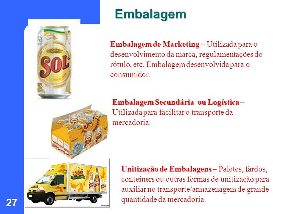 27 Embalagem de Marketing Embalagem de Marketing – Utilizada para o desenvolvimento da marca, regulamentações do rótulo, etc. Embalagem desenvolvida p