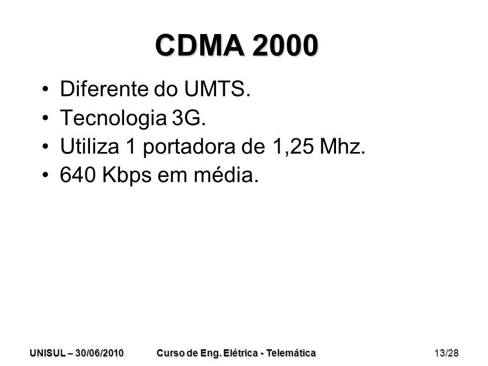 UNISUL – 30/06/2010 Curso de Eng. Elétrica - Telemática 13/28 CDMA 2000 Diferente do UMTS.
