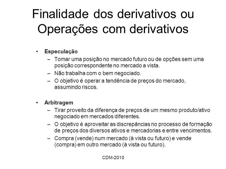 CDM-2010 Finalidade dos derivativos ou Operações com derivativos Especulação –Tomar uma posição no mercado futuro ou de opções sem uma posição corresp