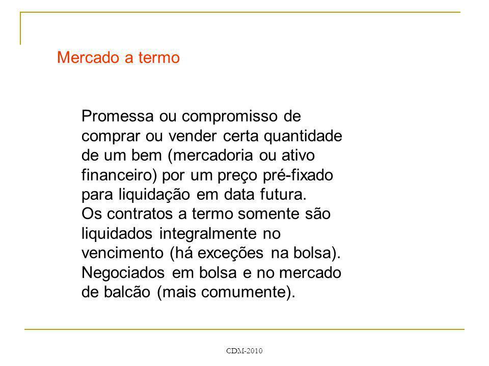 CDM-2010 Mercado a termo Promessa ou compromisso de comprar ou vender certa quantidade de um bem (mercadoria ou ativo financeiro) por um preço pré-fix