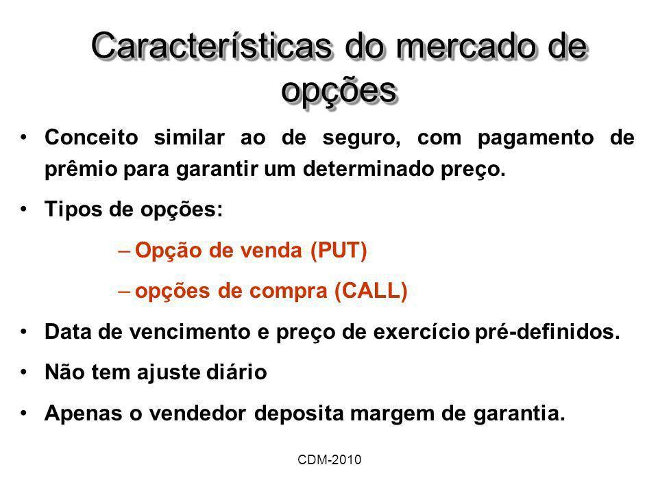 CDM-2010 Características do mercado de opções Conceito similar ao de seguro, com pagamento de prêmio para garantir um determinado preço. Tipos de opçõ