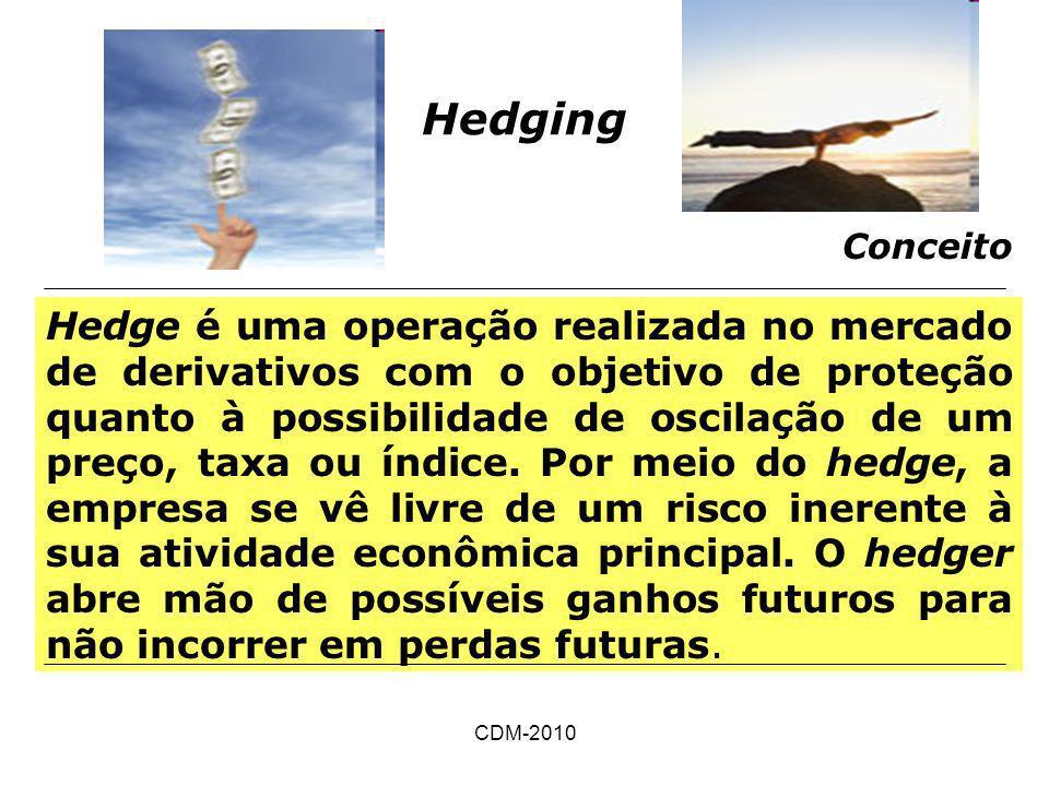 CDM-2010 Hedging Conceito Hedge é uma operação realizada no mercado de derivativos com o objetivo de proteção quanto à possibilidade de oscilação de u