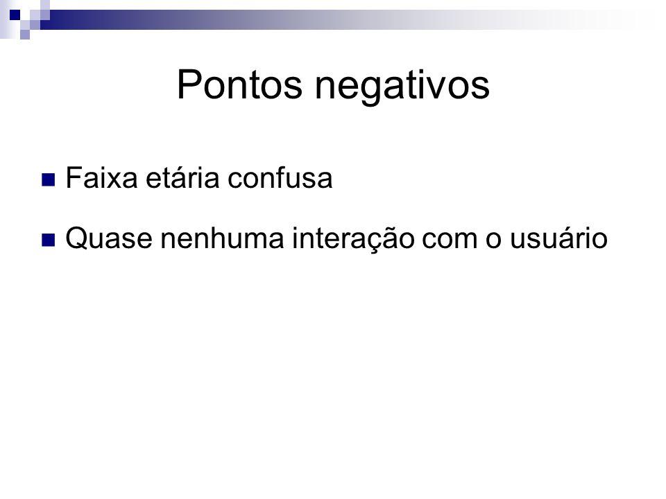 Pontos negativos Faixa etária confusa Quase nenhuma interação com o usuário