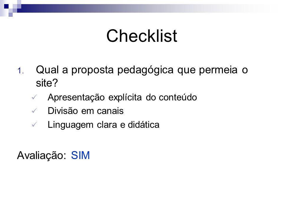 Checklist 1. Qual a proposta pedagógica que permeia o site? Apresentação explícita do conteúdo Divisão em canais Linguagem clara e didática Avaliação: