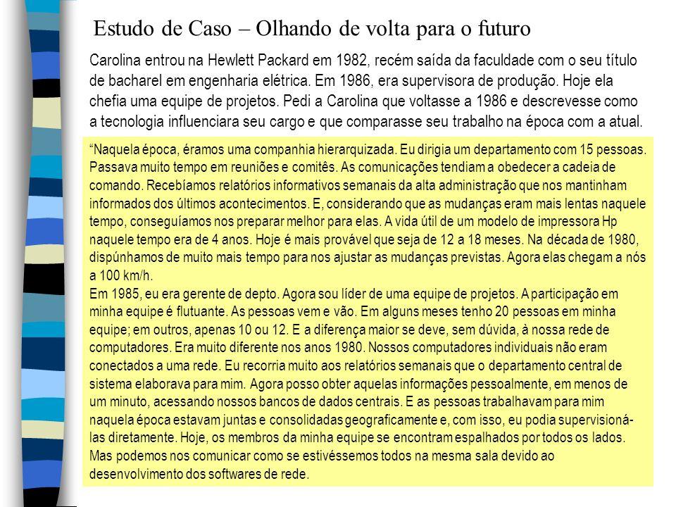 Estudo de Caso – Olhando de volta para o futuro Carolina entrou na Hewlett Packard em 1982, recém saída da faculdade com o seu título de bacharel em e