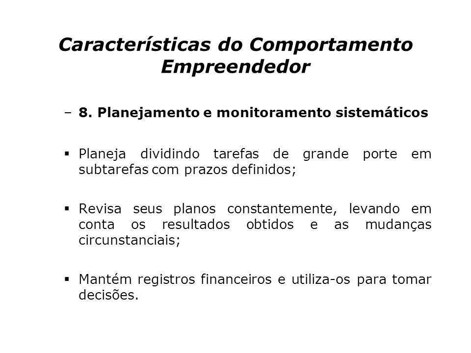 Características do Comportamento Empreendedor –7.Busca de informações Dedica-se pessoalmente a obter informações de clientes, fornecedores e concorren