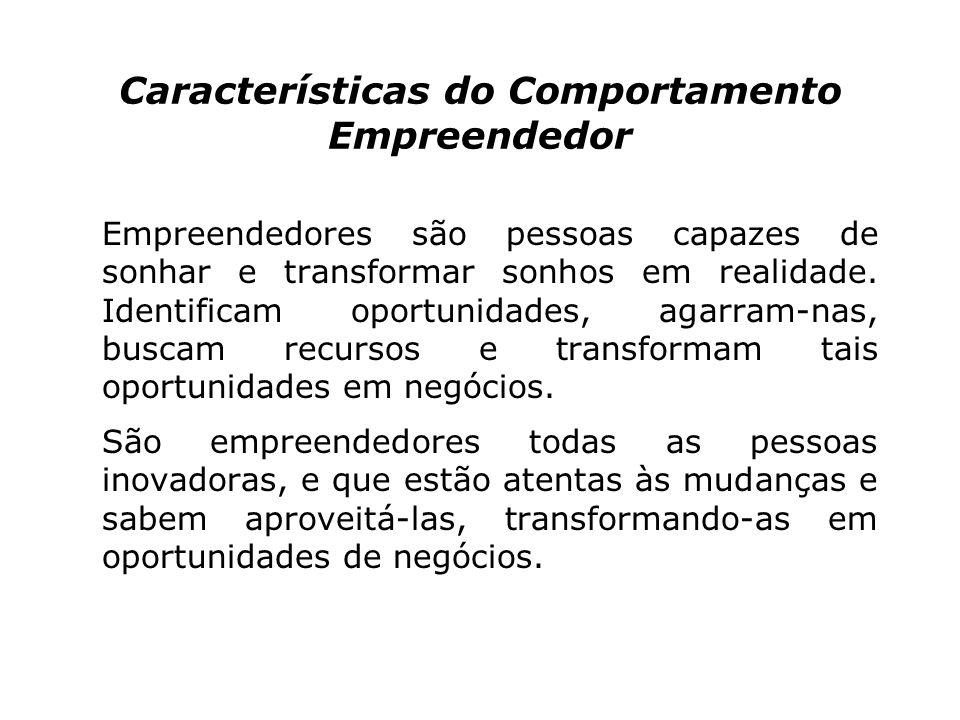 Características do Comportamento Empreendedor Empreendedores são pessoas capazes de sonhar e transformar sonhos em realidade.