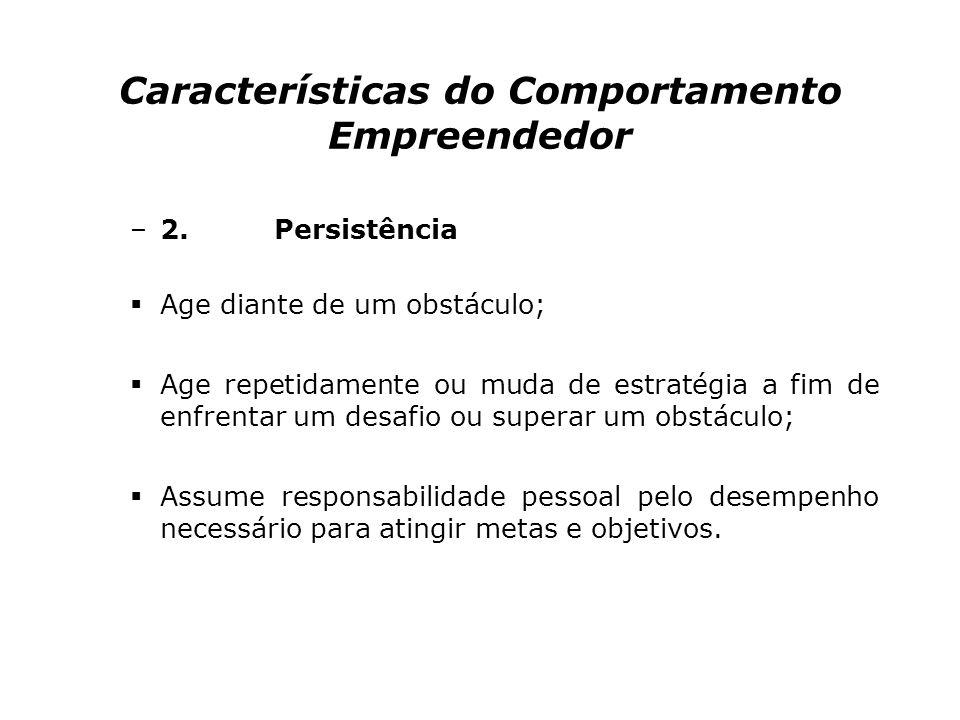 Características do Comportamento Empreendedor –1. Busca de oportunidades e iniciativa Faz as coisas antes de solicitado ou antes de ser forçado pelas
