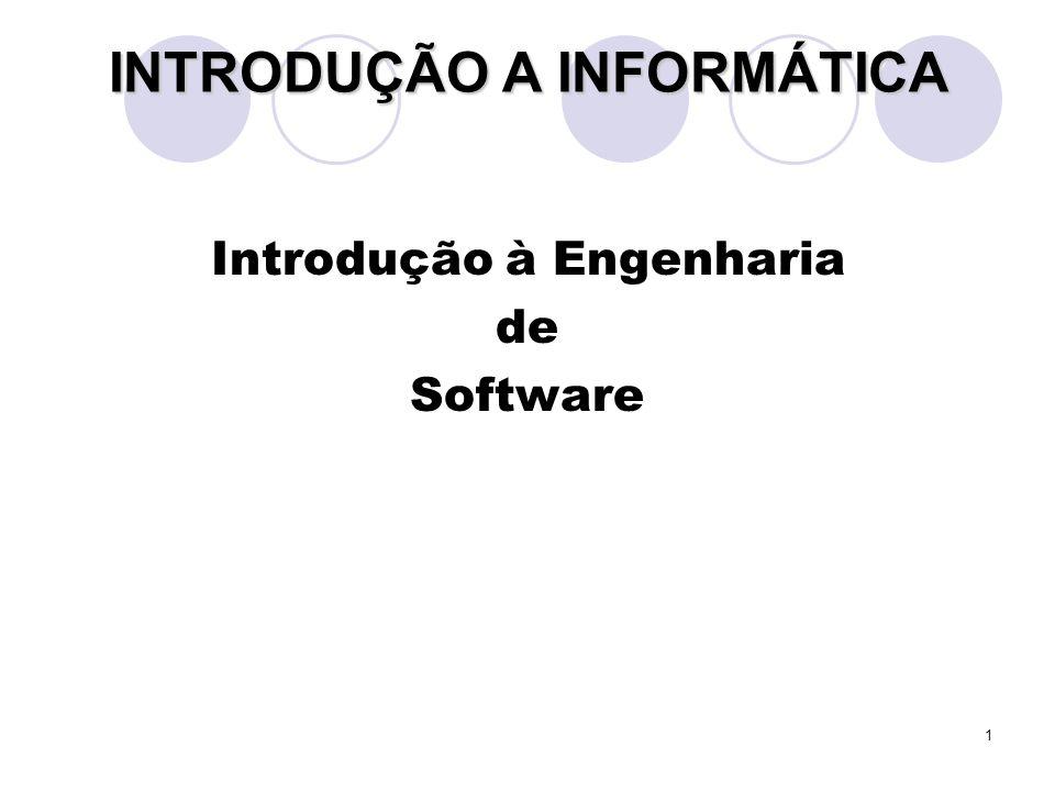 1 INTRODUÇÃO A INFORMÁTICA Introdução à Engenharia de Software