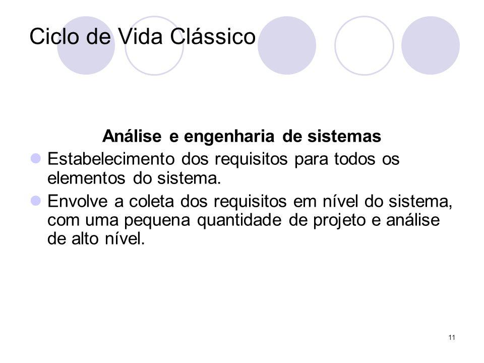 11 Ciclo de Vida Clássico Análise e engenharia de sistemas Estabelecimento dos requisitos para todos os elementos do sistema. Envolve a coleta dos req