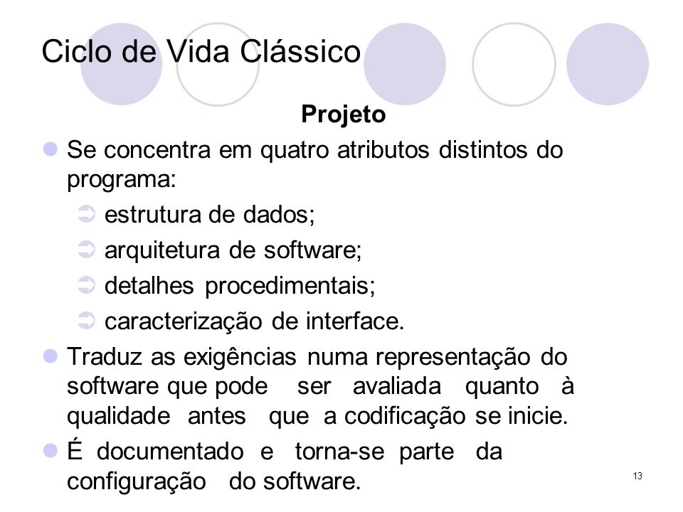 13 Ciclo de Vida Clássico Projeto Se concentra em quatro atributos distintos do programa: estrutura de dados; arquitetura de software; detalhes proced