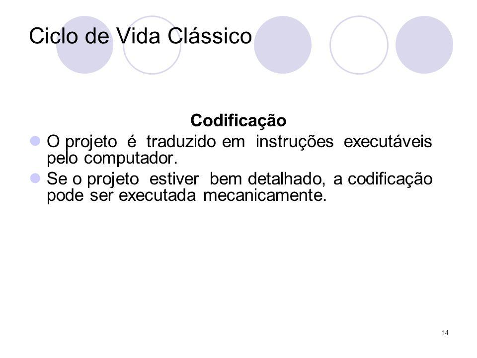 14 Ciclo de Vida Clássico Codificação O projeto é traduzido em instruções executáveis pelo computador. Se o projeto estiver bem detalhado, a codificaç