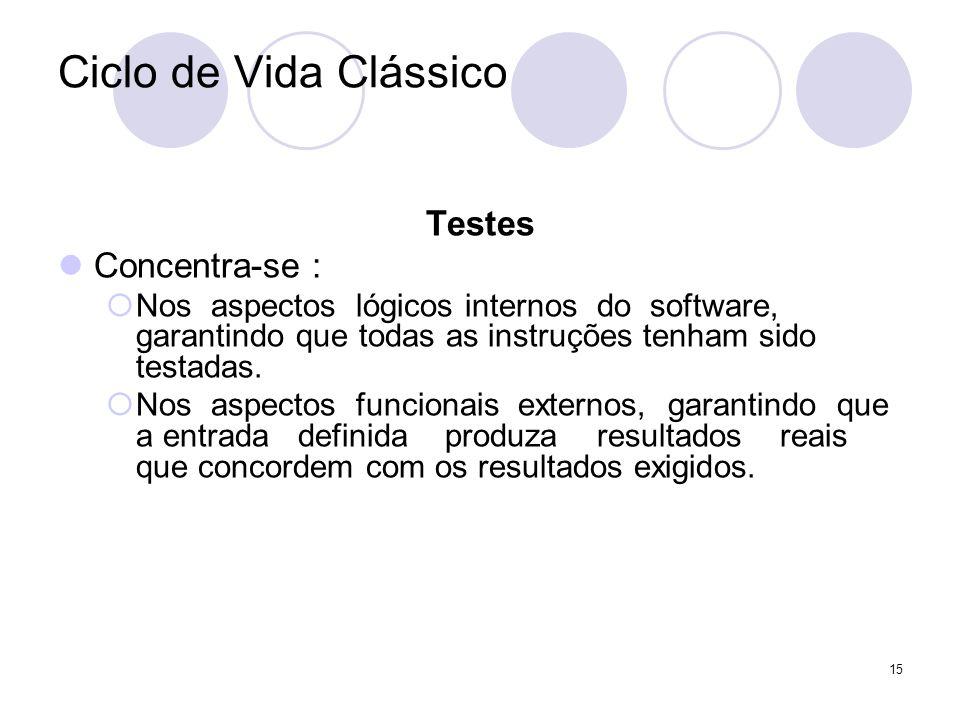 15 Ciclo de Vida Clássico Testes Concentra-se : Nos aspectos lógicos internos do software, garantindo que todas as instruções tenham sido testadas. No