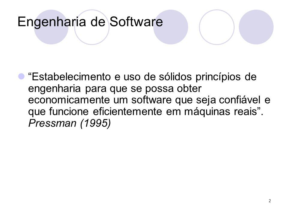 3 Engenharia de Software Todas as definições reforçam a exigência da engenharia no desenvolvimento do software.