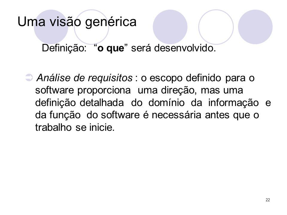 22 Uma visão genérica Definição: o que será desenvolvido. Análise de requisitos : o escopo definido para o software proporciona uma direção, mas uma d