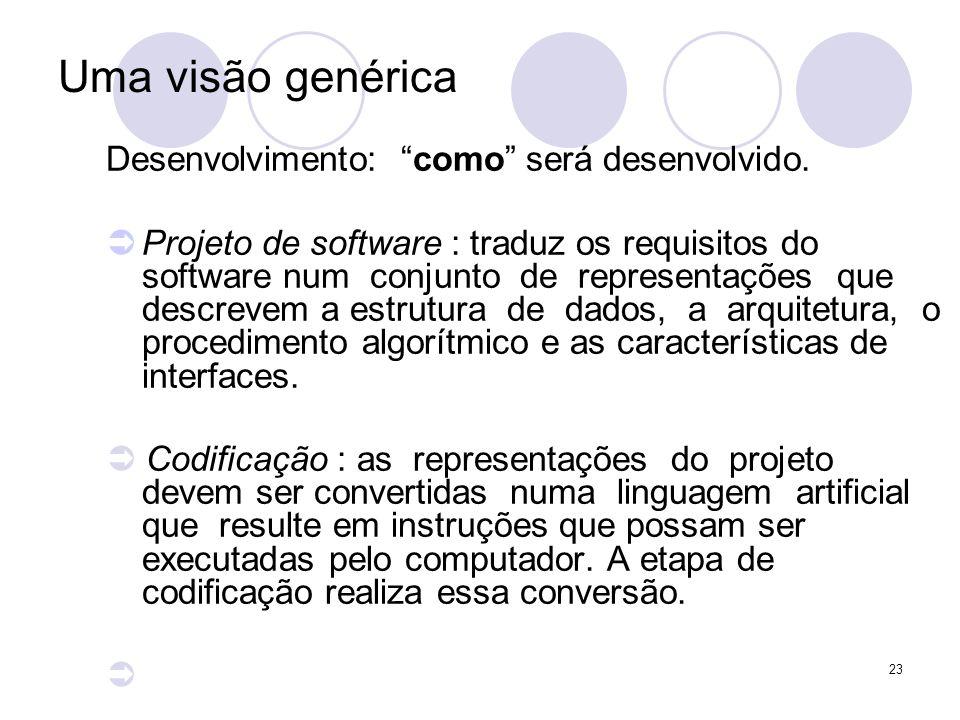 23 Uma visão genérica Desenvolvimento: como será desenvolvido. Projeto de software : traduz os requisitos do software num conjunto de representações q