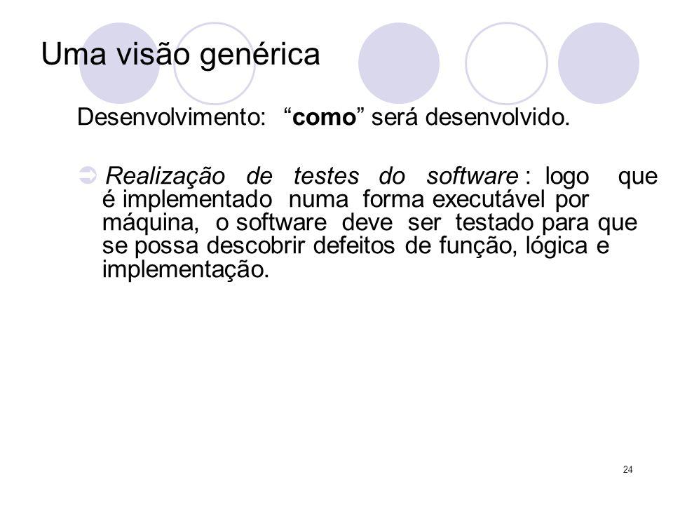 24 Uma visão genérica Desenvolvimento: como será desenvolvido. Realização de testes do software : logo que é implementado numa forma executável por má