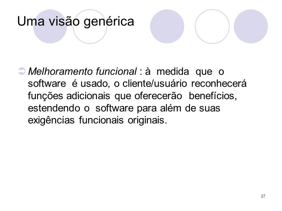 27 Uma visão genérica Melhoramento funcional : à medida que o software é usado, o cliente/usuário reconhecerá funções adicionais que oferecerão benefí