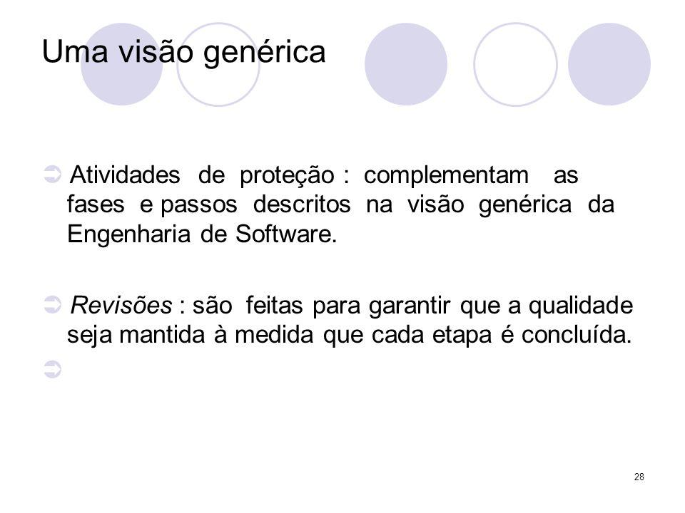 28 Uma visão genérica Atividades de proteção : complementam as fases e passos descritos na visão genérica da Engenharia de Software. Revisões : são fe