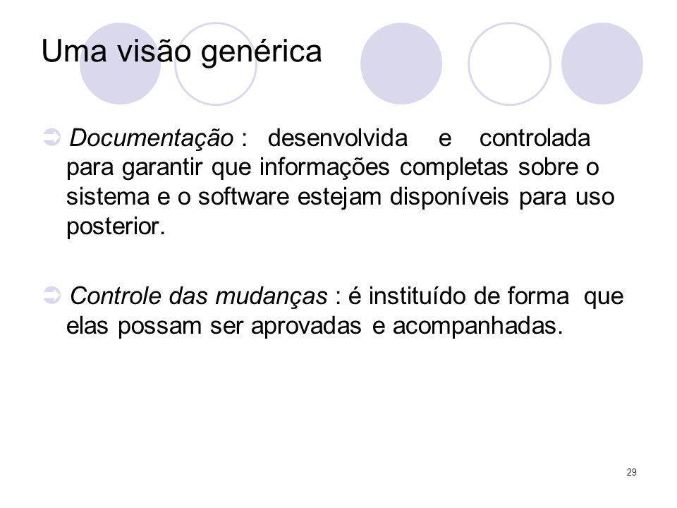 29 Uma visão genérica Documentação : desenvolvida e controlada para garantir que informações completas sobre o sistema e o software estejam disponívei