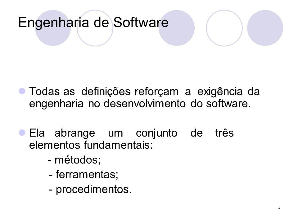 3 Engenharia de Software Todas as definições reforçam a exigência da engenharia no desenvolvimento do software. Ela abrange um conjunto de três elemen