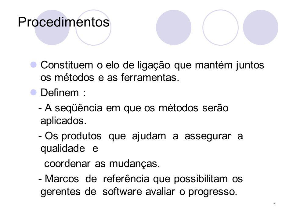 6 Procedimentos Constituem o elo de ligação que mantém juntos os métodos e as ferramentas. Definem : - A seqüência em que os métodos serão aplicados.