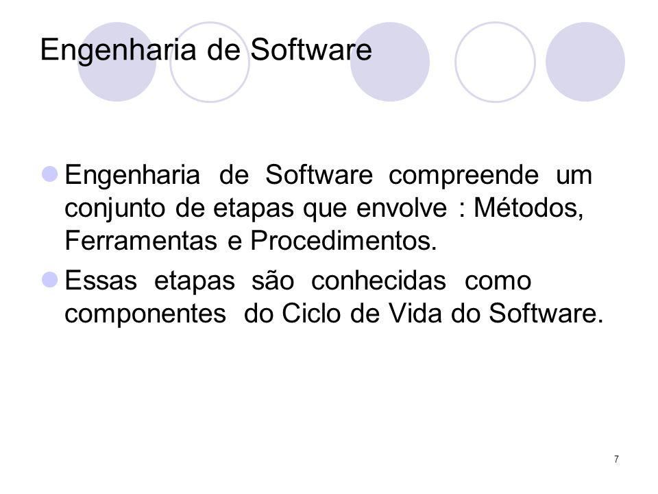 7 Engenharia de Software Engenharia de Software compreende um conjunto de etapas que envolve : Métodos, Ferramentas e Procedimentos. Essas etapas são