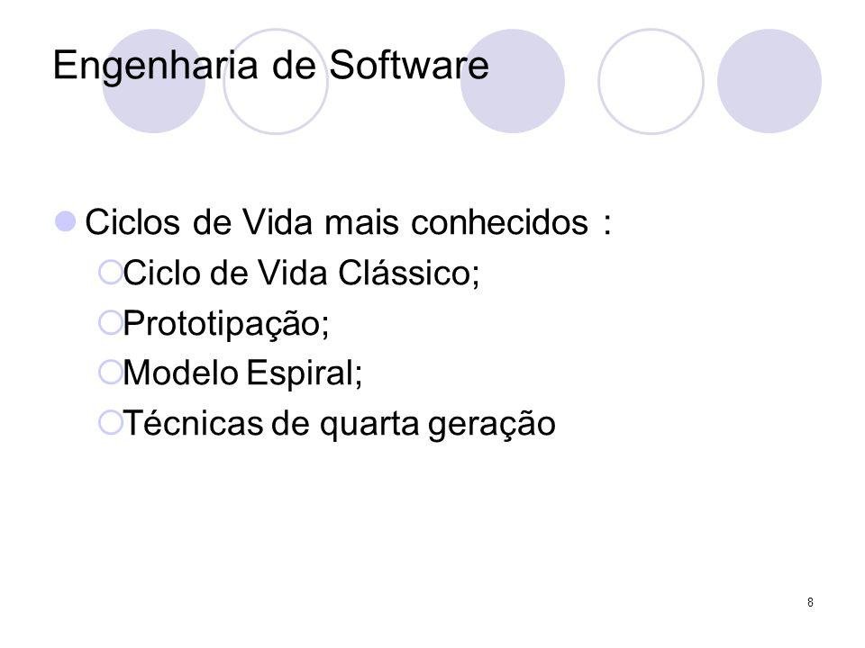 8 Engenharia de Software Ciclos de Vida mais conhecidos : Ciclo de Vida Clássico; Prototipação; Modelo Espiral; Técnicas de quarta geração