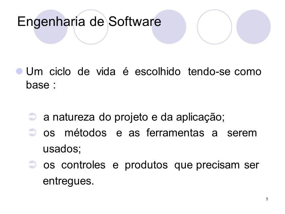 9 Engenharia de Software Um ciclo de vida é escolhido tendo-se como base : a natureza do projeto e da aplicação; os métodos e as ferramentas a serem u