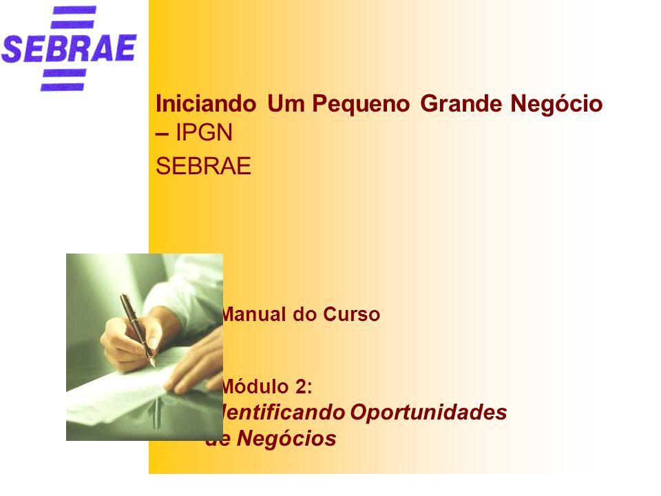 Iniciando Um Pequeno Grande Negócio – IPGN SEBRAE Manual do Curso Módulo 2: Identificando Oportunidades de Negócios