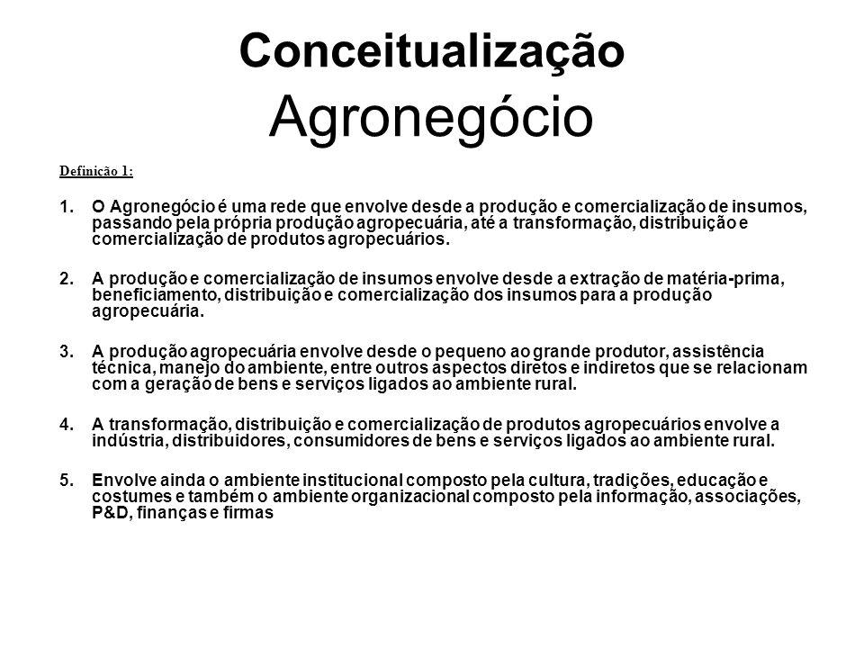 Conceitualização Agronegócio Definição 1: 1.O Agronegócio é uma rede que envolve desde a produção e comercialização de insumos, passando pela própria