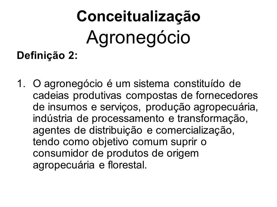 Conceitualização Agronegócio Definição 2: 1.O agronegócio é um sistema constituído de cadeias produtivas compostas de fornecedores de insumos e serviç