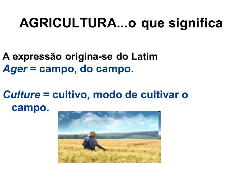 AGRICULTURA...o que significa A expressão origina-se do Latim Ager = campo, do campo. Culture = cultivo, modo de cultivar o campo.