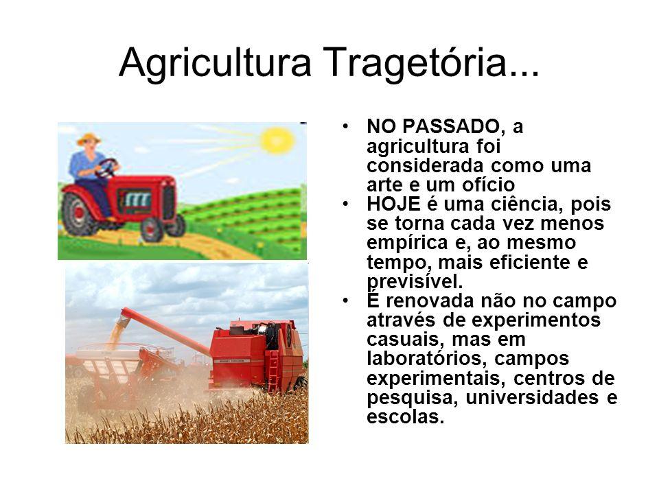 Agricultura Tragetória... NO PASSADO, a agricultura foi considerada como uma arte e um ofício HOJE é uma ciência, pois se torna cada vez menos empíric