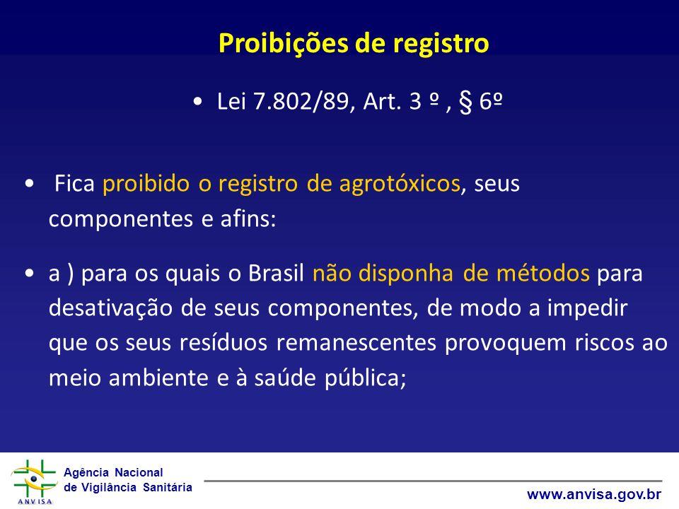 Agência Nacional de Vigilância Sanitária www.anvisa.gov.br Proibições de registro Lei 7.802/89, Art.