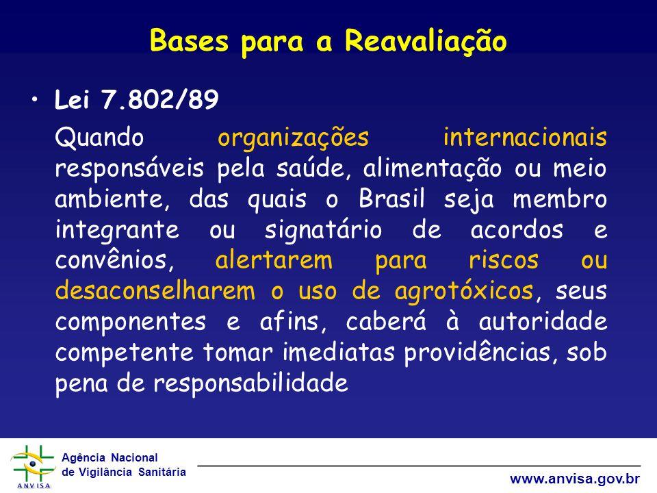 Agência Nacional de Vigilância Sanitária www.anvisa.gov.br Bases para a Reavaliação Lei 7.802/89 Quando organizações internacionais responsáveis pela saúde, alimentação ou meio ambiente, das quais o Brasil seja membro integrante ou signatário de acordos e convênios, alertarem para riscos ou desaconselharem o uso de agrotóxicos, seus componentes e afins, caberá à autoridade competente tomar imediatas providências, sob pena de responsabilidade