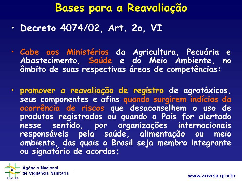 Agência Nacional de Vigilância Sanitária www.anvisa.gov.br Bases para a Reavaliação Decreto 4074/02, Art.