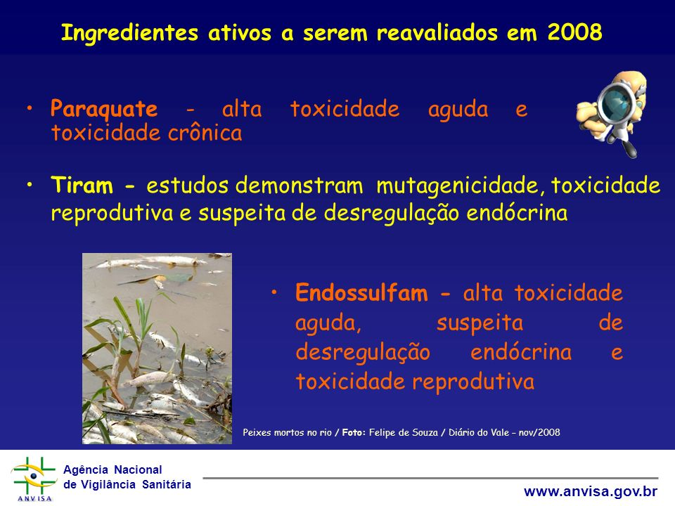 Agência Nacional de Vigilância Sanitária www.anvisa.gov.br Paraquate - alta toxicidade aguda e toxicidade crônica Ingredientes ativos a serem reavaliados em 2008 Endossulfam - alta toxicidade aguda, suspeita de desregulação endócrina e toxicidade reprodutiva Tiram - estudos demonstram mutagenicidade, toxicidade reprodutiva e suspeita de desregulação endócrina Peixes mortos no rio / Foto: Felipe de Souza / Diário do Vale – nov/2008