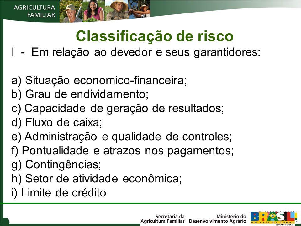 Classificação de risco I - Em relação ao devedor e seus garantidores: a) Situação economico-financeira; b) Grau de endividamento; c) Capacidade de ger