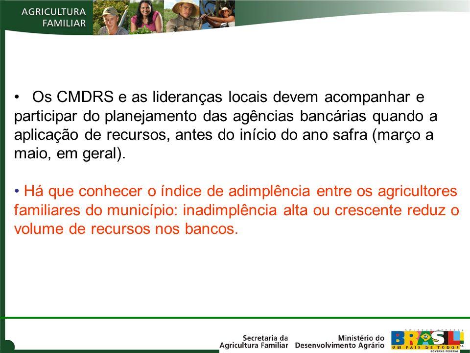 Os CMDRS e as lideranças locais devem acompanhar e participar do planejamento das agências bancárias quando a aplicação de recursos, antes do início d