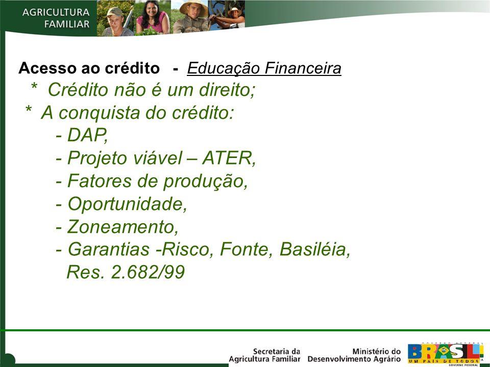 Acesso ao crédito - Educação Financeira * Crédito não é um direito; * A conquista do crédito: - DAP, - Projeto viável – ATER, - Fatores de produção, -