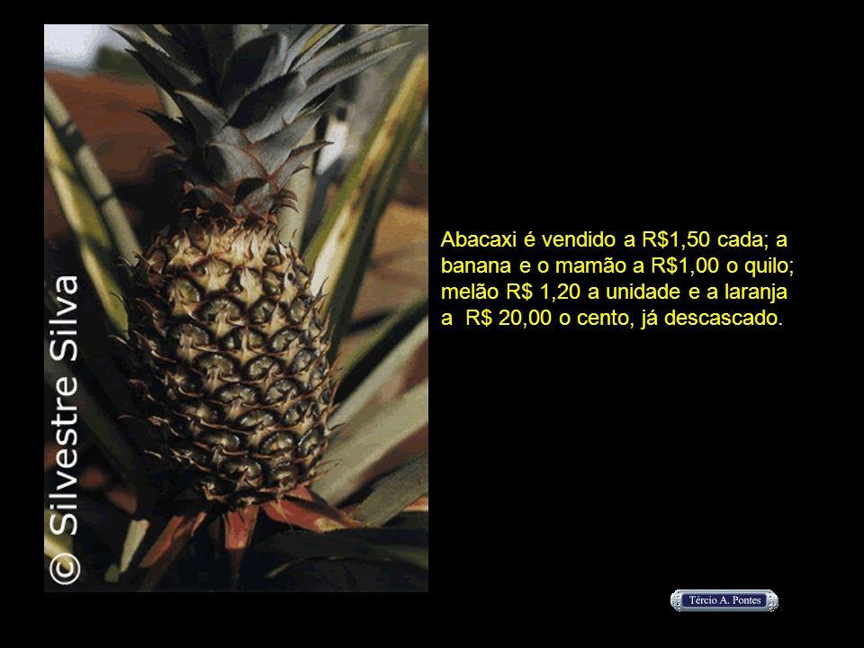 Abacaxi é vendido a R$1,50 cada; a banana e o mamão a R$1,00 o quilo; melão R$ 1,20 a unidade e a laranja a R$ 20,00 o cento, já descascado.