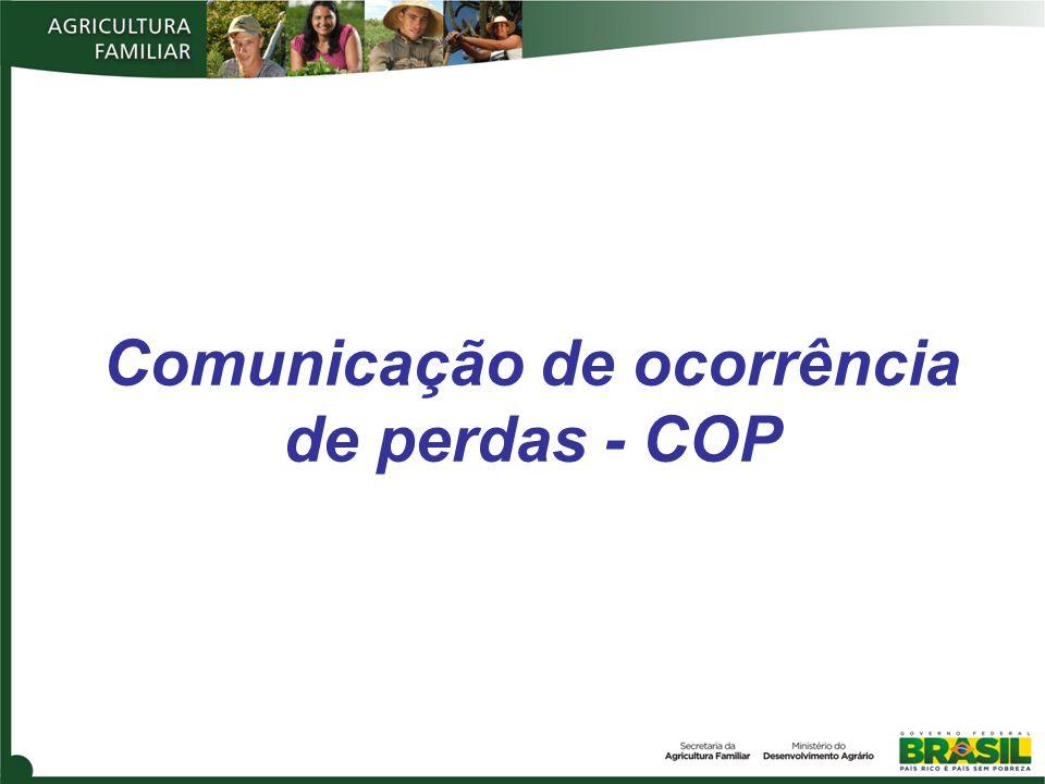 Comunicação de ocorrência de perdas - COP