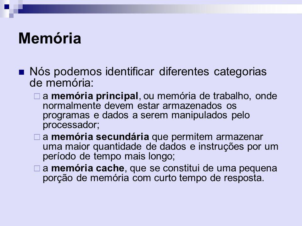 Memória Nós podemos identificar diferentes categorias de memória: a memória principal, ou memória de trabalho, onde normalmente devem estar armazenado