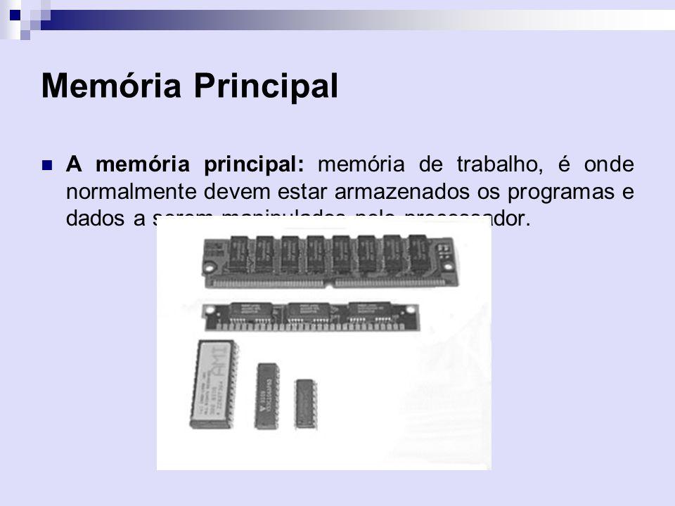 Memória Principal A memória principal: memória de trabalho, é onde normalmente devem estar armazenados os programas e dados a serem manipulados pelo p