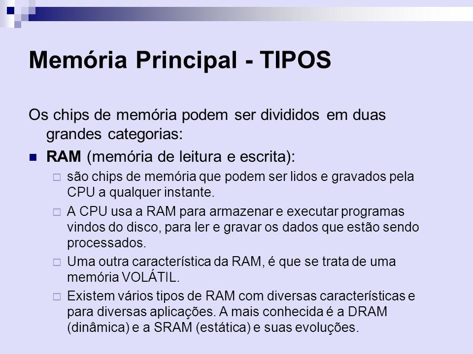 Memória Principal - TIPOS Os chips de memória podem ser divididos em duas grandes categorias: RAM (memória de leitura e escrita): são chips de memória