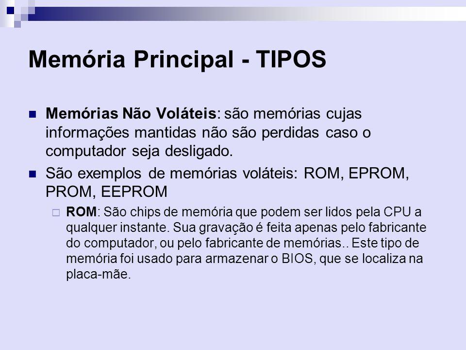 Memória Principal - TIPOS Memórias Não Voláteis: são memórias cujas informações mantidas não são perdidas caso o computador seja desligado. São exempl